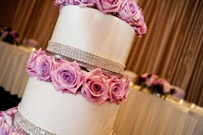 Bling Wedding Cakes Pink Bling And Pink Roses Wedding