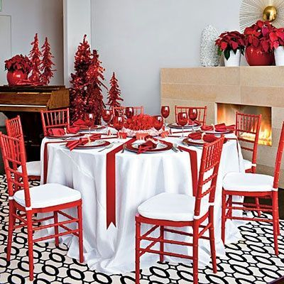 Red and White Christmas Table Decorations Get Inspired