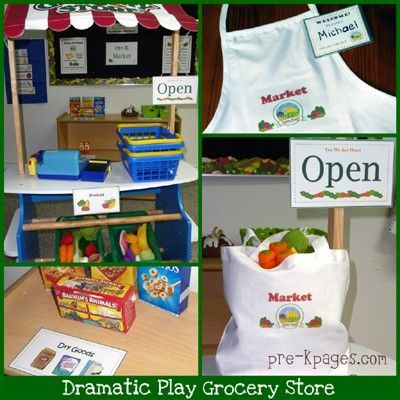 Grocery store dramatic play ideas + free name tag ...