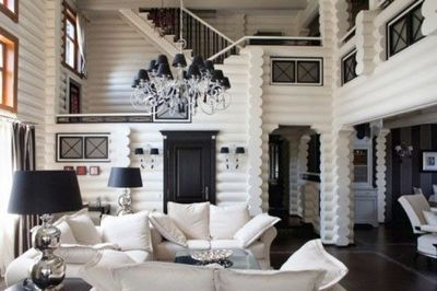 White Painted Log Cabin Style Black Accents For The