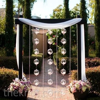 Orchid and glass ball altar decor orchid filled for Altar wedding decoration