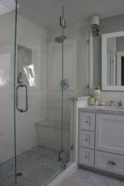 Http Www Juxtapost Com Site Permlink 51774870 7f43 11e2 9015 6f74e8b34941 Post The Main Bath Floor Is Carrara Marble Tiles Cut 6x12 And In The Shower It39s A Carrara Marble Hexagon Mosaic