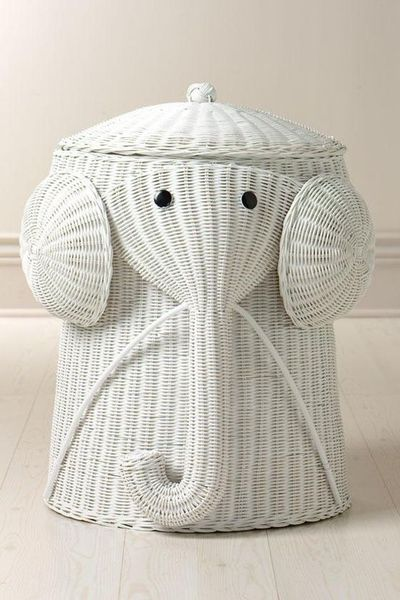 Rattan elephant hamper laundry hampers bath homedecora baby time juxtapost - Elephant hamper wicker ...