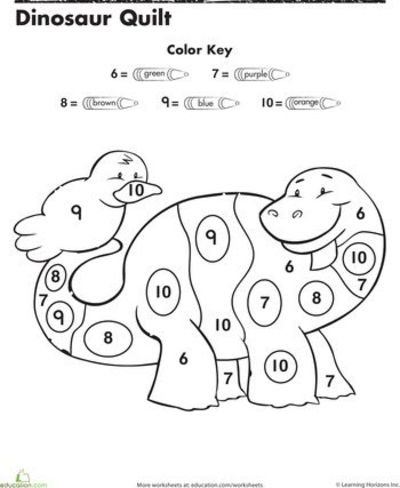 Color by numbers worksheets for kindergarten