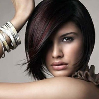 Dark brown hair with subtle red highlights / hair tips ...