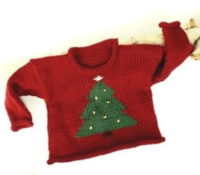 Christmas Tree Sweater free knitting pattern / baby time! - Juxtapost