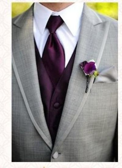 bcd1025e6bf4 Light grey suit with dark purple tie and vest. / wedding ideas ...