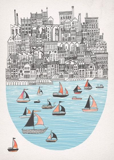 Joppa- New screen print  Limited edition of 50, 2 colour screen print with hand painted sails, on heavyweight Fabriano Rosaspina paper. Coming soon to my online print store.