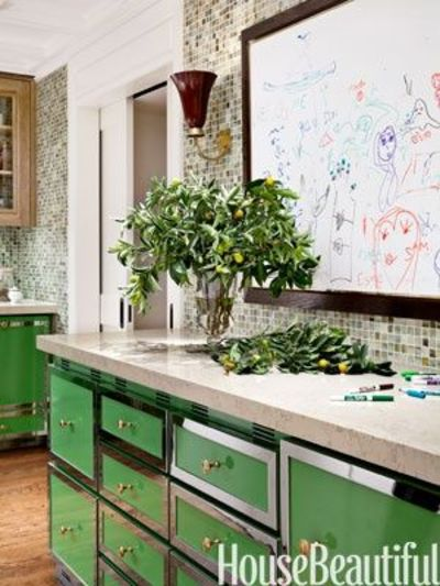 green cabinets