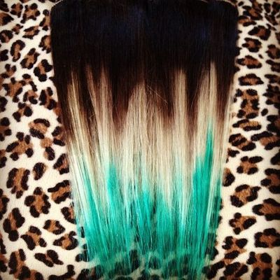 brown to blonde to turquoise hair tips juxtapost