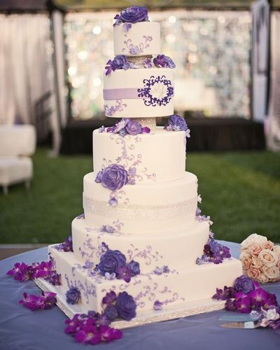 Wedding Cake With Purple Accents And Little Crystal Bling