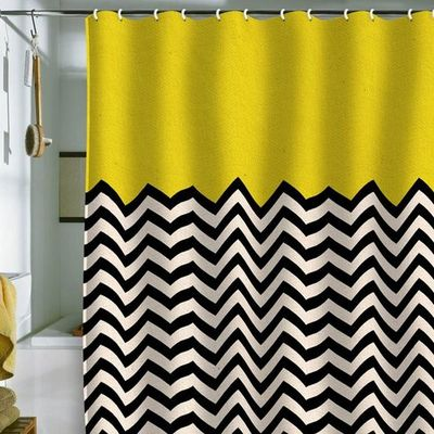Graphic Black White And Yellow Shower Curtain Inspiring