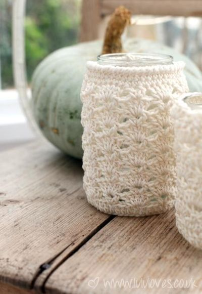 Free Pattern Crochet Jar Cosy Put A Tea Light In The Jar A
