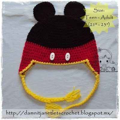 Free Minnie Mouse Crochet Hat Pattern With Ear Flaps : Mickey Mouse Earflap Beanie - free crochet pattern / baby ...