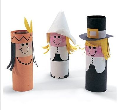 Toilet paper roll craft pilgrim people thanksgiving for Toilet paper roll crafts thanksgiving