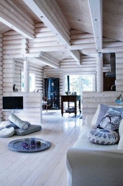 White Washed Log Cabin Neat For The Home Juxtapost
