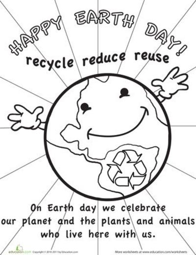 Worksheets color the earth day picture nice signs for Free printable earth day coloring pages and activities