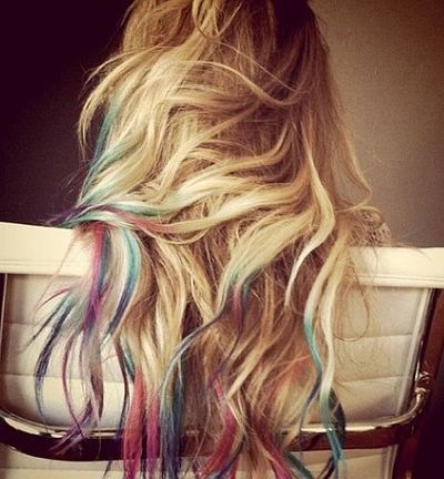 Blonde Ombre Hair With Multicoloured Streaks Pink Purple
