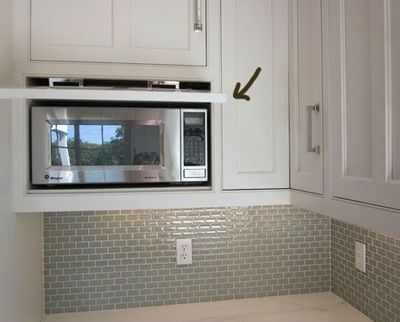 Backsplash and cabinet to hide microwave