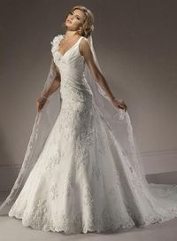 V-neck Romantic Flowers Embellished lace Wedding Dress