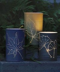 Tin cans candle holders. Love this idea!