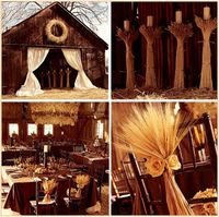 Super cute country decorations, too bad the wedding isn't in the Fall!