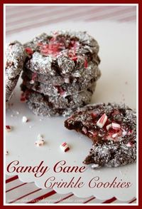 Candy Cane Crinkle Cookies #recipe #cookies