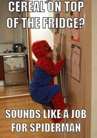 CEREAL ON TOP OF THE FRIDGE? SOUNDS LIKE A JOB FOR SPIDERMAN