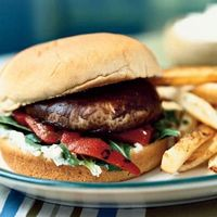 Vegeterian Portobello Cheeseburgers: Meaty portobello mushrooms make great vegetarian main dishes. Sauté the caps in garlic until tender, then stack on a sandwich roll spread with a rich and creamy Gorgonzola-flavored mayonnaise. Top with lettuce and bot...