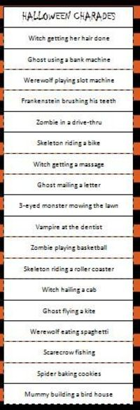 Free printable Halloween Charades Game - a fun party or fami ...