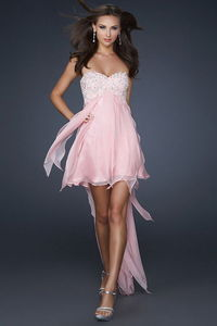 Beaded Top Pink Strapless Fringe High Low Prom Dress Online