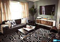 Geometric rug; TV console; Interior Therapy with Jeff Lewis Season