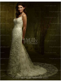 A-Line V-neck Embroidery Lace Chapel Train Wedding Dress