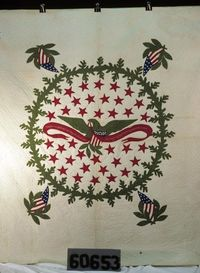 """Quilt discovered in West Virginia Heritage Quilt Project, inscribed """"Free and unfettered our Eagle shall soar. The reign of oppression forever is o'er."""" Quilt Index."""