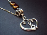 Double heart pendant necklace, Silver plated jewelry, Tibetan silver charm