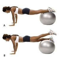 Stability Ball Leg Lift- Place your shins on a ball and walk your hands out until you're in the plank position. Pull your abs tight to keep your body stable. Next, raise your left leg, squeezing your glutes to lift it a few inches above the ball. Rele...