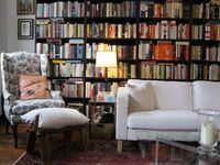 wall of books, comfortable reading spots