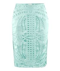 Mint eyelet Pencil skirt