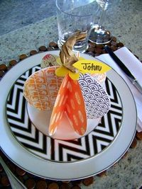 diy paper pumpkin placecards