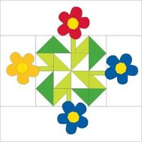 """FREE Whirligig Garden 16"""" quilt block pattern from McCall's Quilting's online Quilt Block Reference. This block is designed by Melinda Honn, and the complete Whirligig Garden quilt pattern is featured in McCall's Quick Quilts April/May 201..."""