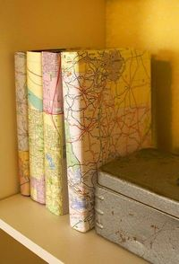 map-covered books