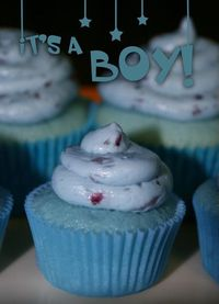 Baby Blueberry Champagne Cupcakes.