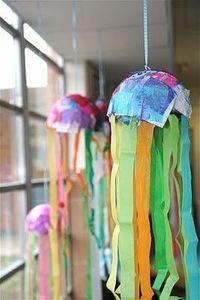 Papier Mache jelly fish for ocean unit
