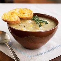 Potato Leek Soup with Cheddar Toasts