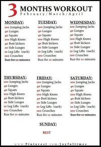 Exercise / 3 month workout plan