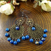 2pcs the retro turquoise bead earrings F3065