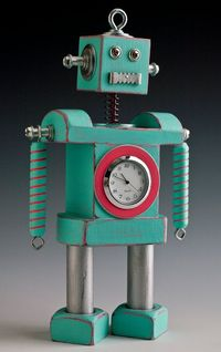 Robot Clock Bobblehead Mint by Rockdorf