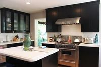 Black and Glass Kitchen Cabinets