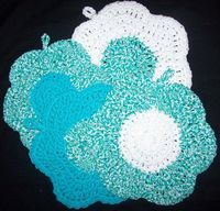 Crochet Washcloth 4 of them Mod Blue/Twisted blue