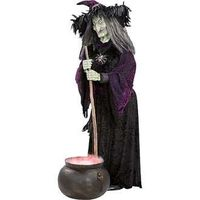 Life Size Animated Halloween Witch with Misting Cauldron Over 5 Tall